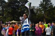 28 April 2018; Former World Champion and Olympic Silver medallist Sonia O'Sullivan completed her 100th parkrun at Cabinteely parkrun on Saturday morning where Vhi hosted a special event to celebrate the achievement. More than 400 parkrunners and volunteers enjoyed refreshments in the Vhi Relaxation Area where a physiotherapist took participants through a post-event stretching routine. parkrun in partnership with Vhi support local communities in organising free, weekly, timed 5k runs every Saturday at 9.30am. To register for a parkrun near you visit www.parkrun.ie. Pictured is Event Director Olwyn Dunne before the race. Photo by Piaras Ó Mídheach/Sportsfile
