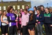 28 April 2018; Former World Champion and Olympic Silver medallist Sonia O'Sullivan completed her 100th parkrun at Cabinteely parkrun on Saturday morning where Vhi hosted a special event to celebrate the achievement. More than 400 parkrunners and volunteers enjoyed refreshments in the Vhi Relaxation Area where a physiotherapist took participants through a post-event stretching routine. parkrun in partnership with Vhi support local communities in organising free, weekly, timed 5k runs every Saturday at 9.30am. To register for a parkrun near you visit www.parkrun.ie. Pictured is Sonia O'Sullivan after being presented with an award by Loreto Secondary School, Bray. Photo by Piaras Ó Mídheach/Sportsfile