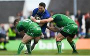 28 April 2018; Barry Daly of Leinster is tackled by Matt Healy, left, and Tom Farrell of Connacht during the Guinness PRO14 Round 21 match between Connacht and Leinster at the Sportsground in Galway. Photo by Ramsey Cardy/Sportsfile