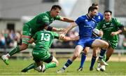28 April 2018; Barry Daly of Leinster is tackled by Quinn Roux, left, Tom Farrell, centre, and Denis Buckley of Connacht during the Guinness PRO14 Round 21 match between Connacht and Leinster at the Sportsground in Galway. Photo by Ramsey Cardy/Sportsfile