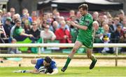 28 April 2018; Barry Daly of Leinster scores his side's first try despite the tackle of Jack Carty of Connacht during the Guinness PRO14 Round 21 match between Connacht and Leinster at the Sportsground in Galway. Photo by Ramsey Cardy/Sportsfile