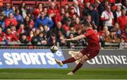 28 April 2018; JJ Hanrahan of Munster kicks a conversion during the Guinness PRO14 Round 21 match between Munster and Ulster at Thomond Park in Limerick. Photo by Diarmuid Greene/Sportsfile