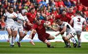 28 April 2018; Robin Copeland of Munster is tackled by Rory Best, left, and Alan O'Connor of Ulster during the Guinness PRO14 Round 21 match between Munster and Ulster at Thomond Park in Limerick. Photo by Diarmuid Greene/Sportsfile