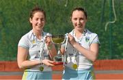 28 April 2018; UCD players Sara Twomey, left, and Sorcha Clarke celebrate with the cup after the Women's EY Hockey League match between UCD and Monkstown at UCD in Belfield, Dublin. Photo by Piaras Ó Mídheach/Sportsfile