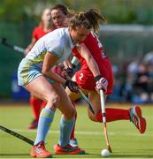 28 April 2018; Deirdre Duke of UCD in action against Christine Quinlan of Monkstown during the Women's EY Hockey League match between UCD and Monkstown at UCD in Belfield, Dublin. Photo by Piaras Ó Mídheach/Sportsfile