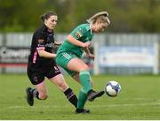 28 April 2018; Saoirse Noonan of Cork City WFC in action against Edel Kennedy of Wexford Youths during the Continental Tyres Women's National League match between Wexford Youths and Cork City WFC at Ferrycarrig Park in Wexford. Photo by Matt Browne/Sportsfile