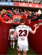 28 April 2018; Tommy Bowe of Ulster is greeted by supporters after the Guinness PRO14 Round 21 match between Munster and Ulster at Thomond Park in Limerick. Photo by Diarmuid Greene/Sportsfile