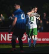 28 April 2018; Kieran Marty Waters of Cabinteely, no. 10, is congratulated by team mate Dean Casey after scoring his side's first goal during the SSE Airtricity League First Division match between Cabinteely and Athlone Town at Cabinteely FC in Blackrock, Co. Dublin. Photo by David Fitzgerald/Sportsfile