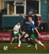28 April 2018; Cormac Rafferty of Athlone in action against Joe Doyle of Cabinteely during the SSE Airtricity League First Division match between Cabinteely and Athlone Town at Cabinteely FC in Blackrock, Co. Dublin. Photo by David Fitzgerald/Sportsfile