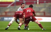 28 April 2018; Tommy Bowe of Ulster is tackled by Dan Goggin, left, and Jean Kleyn of Munster during the Guinness PRO14 Round 21 match between Munster and Ulster at Thomond Park in Limerick. Photo by Diarmuid Greene/Sportsfile