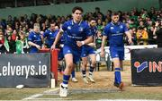 28 April 2018; Joey Carbery, left, and Ross Byrne of Leinster ahead of the Guinness PRO14 Round 21 match between Connacht and Leinster at the Sportsground in Galway. Photo by Ramsey Cardy/Sportsfile