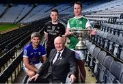 30 April 2018; In attendance during the Lory Meagher Cup competition launch are, Uachtarán Cumann Lúthchleas Gael John Horan, centre, and players, from left, Mark Hayes of Cavan, Kevin Gilmartin of Sligo and Andrew Breslin of Fermanagh at Croke Park in Dublin. Photo by David Fitzgerald/Sportsfile