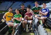 30 April 2018; In attendance during the Joe McDonagh Cup competition launch are, from left, Conor McGinley of Antrim, Damien Healy of Meath, Brian Tracey of Carlow, Eoin Price of Westmeath, Padraig Boyle of Kerry and Ross King of Laois,  at Croke Park in Dublin. Photo by Sam Barnes/Sportsfile