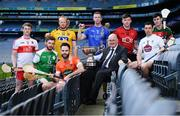30 April 2018; In attendance during the Christy Cup competition launch is Uachtarán Cumann Lúthchleas Gael John Horan, with players, from left, Brendan Rogers of Derry, Conor Hickey of London, Naos Connaghton of Roscommon, Ciaran Clifford of Armagh, Warren Kavanagh of Wicklow, Paul Sheehan of Down, John Doran of Kildare and Corey Scahill of Mayo, at Croke Park in Dublin. Photo by Sam Barnes/Sportsfile