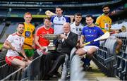 30 April 2018; In attendance during the Nicky Rackard Cup competition launch is Uachtarán Cumann Lúthchleas Gael John Horan, centre, with players, from left, Damian Casey of Tyrone, Padraig Doherty of Donegal, Ger Smyth of Louth, Fergal Rafter of Monaghan, Paul Hoban of Warwickshire, Patrick Walsh of Longford, and Zak Moradi of Leitrim at Croke Park in Dublin. Photo by Sam Barnes/Sportsfile