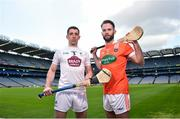 30 April 2018; John Doran of Kildare, left, and Ciaran Clifford of Armagh in attendance during the Christy Ring Cup competition launch at Croke Park in Dublin. Photo by David Fitzgerald/Sportsfile