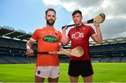 30 April 2018; Ciaran Clifford of Armagh, left, and Paul Sheehan of Down in attendance during the Christy Ring Cup competition launch at Croke Park in Dublin. Photo by David Fitzgerald/Sportsfile