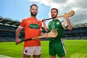 30 April 2018; Ciaran Clifford of Armagh, left, and Conor Hickey of London in attendance during the Christy Ring Cup competition launch at Croke Park in Dublin. Photo by David Fitzgerald/Sportsfile