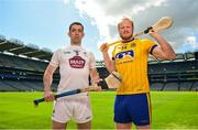 30 April 2018; John Doran of Kildare, left, and Naos Connaghton of Roscommon in attendance during the Christy Ring Cup competition launch at Croke Park in Dublin. Photo by David Fitzgerald/Sportsfile