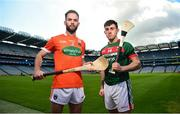 30 April 2018; Ciaran Clifford of Armagh, left, and Corey Scahill of Mayo in attendance during the Christy Ring Cup competition launch at Croke Park in Dublin. Photo by David Fitzgerald/Sportsfile