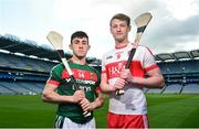 30 April 2018; Corey Scahill of Mayo, left, and Brendan Rogers of Derry in attendance during the Christy Ring Cup competition launch at Croke Park in Dublin. Photo by David Fitzgerald/Sportsfile