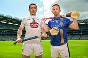 30 April 2018; John Doran of Kildare, left, and Warren Kavanagh of Wicklow in attendance during the Christy Ring Cup competition launch at Croke Park in Dublin. Photo by David Fitzgerald/Sportsfile