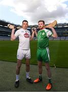 30 April 2018; John Doran of Kildare with Conor Hickey of London of Down during the Christy Ring competition launch at Croke Park in Dublin. Photo by Eóin Noonan/Sportsfile