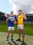30 April 2018; Ross King of Laois with Conor McGinley of Antrim during the McDonagh competition launch at Croke Park in Dublin. Photo by Eóin Noonan/Sportsfile