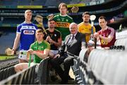 30 April 2018; In attendance during the Joe McDonagh Cup competition launch is Uachtarán Cumann Lúthchleas Gael John Horan, centre, with players, from left, Ross King of Laois, Damien Healy of Meath, Brian Tracey of Carlow, Padraig Boyle of Kerry, Conor McGinley of Antrim and Eoin Price of Westmeath, at Croke Park in Dublin. Photo by Sam Barnes/Sportsfile