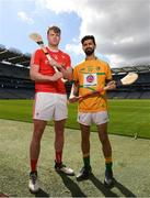 30 April 2018; Ger Smyth of Louth with Zak Moradi of Leitrim during the Rackard competition launch at Croke Park in Dublin. Photo by Eóin Noonan/Sportsfile