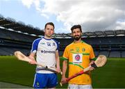 30 April 2018; Fergal Rafter of Monaghan with Zak Moradi of Leitrim during the Rackard competition launch at Croke Park in Dublin. Photo by Eóin Noonan/Sportsfile