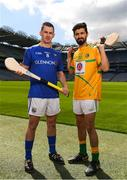 30 April 2018; Patrick Walsh of Longford with Zak Moradi of Leitrim during the Rackard competition launch at Croke Park in Dublin. Photo by Eóin Noonan/Sportsfile