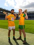 30 April 2018; Zak Moradi of Leitrim with Padraig Doherty of Donegal during the Rackard competition launch at Croke Park in Dublin. Photo by Eóin Noonan/Sportsfile