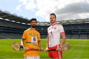 30 April 2018; Zak Moradi of Leitrim with Damian Casey of Tyrone during the Rackard competition launch at Croke Park in Dublin. Photo by Eóin Noonan/Sportsfile