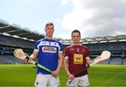 30 April 2018; Ross King of Laois with Eoin Price of Westmeath during the McDonagh competition launch at Croke Park in Dublin. Photo by Eóin Noonan/Sportsfile