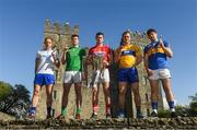30 April 2018; Hurlers, from left, Kevin Moran of Waterford, Declan Hannon of Limerick, Séamus Harnedy of Cork, Pat O'Connor of Clare, and Niall O'Meara of Tipperary, at the launch of the Munster Senior Hurling and Senior Football Championships 2018 at Bunratty Folk Park in Co Clare. Photo by Piaras Ó Mídheach/Sportsfile