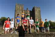 30 April 2018; Players, from left, Séamus Harnedy, Cork hurler, Kevin Moran, Waterford hurler, Niall O'Meara, Tipperary hurler, Pat O'Connor, Clare hurler, Ian McGuire, Cork footballer, Fionn Fitzgerald, Kerry footballer, James McGrath, Waterford footballer, Donal O'Sullivan, Limerick footballer, Gary Brennan, Clare footballer, and Declan Hannon, Limerick hurler, at the launch of the Munster Senior Hurling and Senior Football Championships 2018 at Bunratty Folk Park in Co Clare. Photo by Piaras Ó Mídheach/Sportsfile