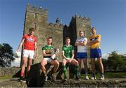 30 April 2018; Footballers, from left, Ian Maguire of Cork, Fionn Fitzgerald of Kerry, Donal O'Sullivan of Limerick, James McGrath of Waterford, and Gary Brennan of Clare, at the launch of the Munster Senior Hurling and Senior Football Championships 2018 at Bunratty Folk Park in Co Clare. Photo by Piaras Ó Mídheach/Sportsfile