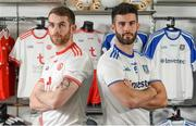 30 April 2018; Ronan McNamee of Tyrone and Neil McAdam of Monaghan during the Launch of the Ulster Senior Football Championship 2018 in Strabane, Co Tyrone. Photo by Oliver McVeigh/Sportsfile