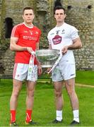 3 May 2018; Andy McDonnell of Louth with Eoin Doyle of Kildare during the Launch of the 2018 Leinster Senior Football Championship at Trim Castle in Trim, Co Meath. Photo by Harry Murphy/Sportsfile