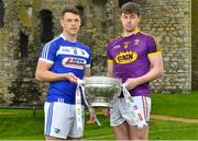 3 May 2018; John O'Loughlin of Laois with Naomhan Rossiter of Wexford during the Launch of the 2018 Leinster Senior Football Championship at Trim Castle in Trim, Co Meath. Photo by Harry Murphy/Sportsfile
