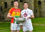 3 May 2018; John Murphy of Carlow with Eoin Doyle of Kildare during the Launch of the 2018 Leinster Senior Football Championship at Trim Castle in Trim, Co Meath. Photo by Harry Murphy/Sportsfile