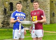 3 May 2018; John O'Loughlin of Laois with John Heslin of Westmeath during the Launch of the 2018 Leinster Senior Football Championship at Trim Castle in Trim, Co Meath. Photo by Harry Murphy/Sportsfile