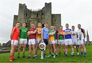 3 May 2018; Players from left, Andy McDonnell of Louth, Bryan Menton of Meath, John Heslin of Westmeath, Paddy Collum of Longford, Michael Fitzsimons of Dublin, Anton Sullivan of Offaly, Naomhan Rossiter of Wexford, John Murphy of Carlow, John O'Loughlin of Laois, Eoin Doyle of Kildare and Seanie Furlong of Wicklow during the Launch of the 2018 Leinster Senior Football Championship at Trim Castle in Trim, Co Meath. Photo by Eóin Noonan/Sportsfile