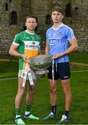 3 May 2018; Anton Sullivan of Offaly with Michael Fitzsimons of Dublin during the Launch of the 2018 Leinster Senior Football Championship at Trim Castle in Trim, Co Meath. Photo by Harry Murphy/Sportsfile