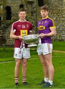 3 May 2018; John Heslin of Westmeath with Naomhan Rossiter of Wexford during the Launch of the 2018 Leinster Senior Football Championship at Trim Castle in Trim, Co Meath. Photo by Harry Murphy/Sportsfile