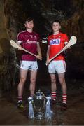 2 May 2018; Jack Canning of Galway with Darragh Fitzgibbon of Cork at the launch of the Bord Gáis Energy GAA Hurling U21 All-Ireland Championship at Mitchelstown Caves in Cork. The 2018 campaign begins on May 7th with Clare hosting current holders Limerick in Ennis. Follow all of the action at #HurlingToTheCore. Photo by Eóin Noonan/Sportsfile