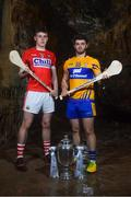 2 May 2018; Darragh Fitzgibbon of Cork with Jason McCarthy of Clare at the launch of the Bord Gáis Energy GAA Hurling U21 All-Ireland Championship at Mitchelstown Caves in Cork. The 2018 campaign begins on May 7th with Clare hosting current holders Limerick in Ennis. Follow all of the action at #HurlingToTheCore. Photo by Eóin Noonan/Sportsfile