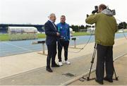 4 May 2018; RTÉ's Tony O'Donoghue interviews Waterford FC manager Alan Reynolds prior to the SSE Airtricity League Premier Division match between Waterford and Dundalk at the RSC in Waterford. Photo by Matt Browne/Sportsfile