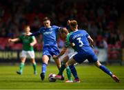 5 April 2018; Karl Sheppard of Cork City is tackled by Cian Coleman, left, and Kilian Cantwell of Limerick during the SSE Airtricity League Premier Division between Cork City and Limerick at Turners Cross in Cork. Photo by Eóin Noonan/Sportsfile